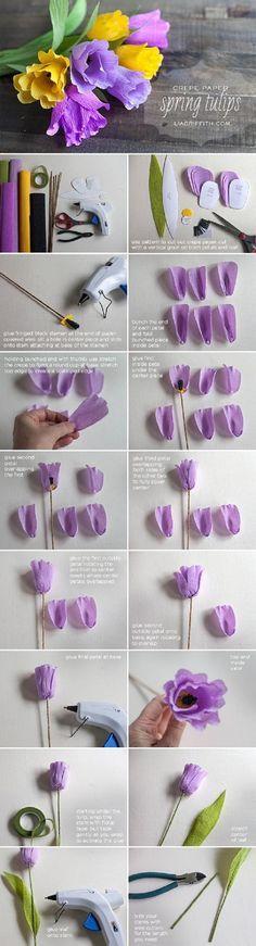 DIY Crepe Paper Tulips - 17 Blossoming DIY Spring Decorating Tutorials   GleamItUp