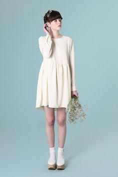 Back Button Smock Dress Cream - THE WHITEPEPPER