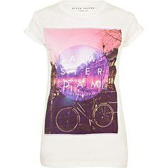 white amsterdam print t-shirt - t-shirts - t shirts / vests / sweats - women - River Island