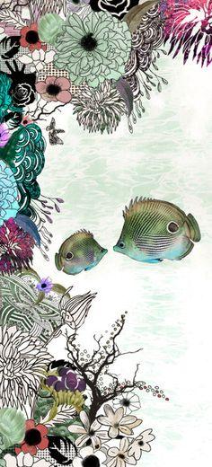 Fish Art Print Green turquoise Large painting Pen by lizkapiloto, $35.00