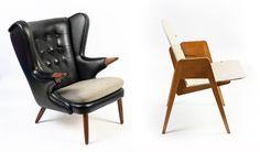 Кресло «Wing chair», Model 91, 1960-е, Дания  Дизайнер: Svend Skipper   Производство: Skipper Mobelfabrik, Дания Стул-трансформер, 1950, Финляндия  Дизайнер: Carl Johan Boman   Производство: Wilhelm Schauman Oy