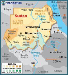 Sudan and South Sudan map with capitals Khartoum and Juba