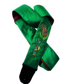 Paisley Guitar Strap Hand Embroidered on Green Dupioni Silk | Coolstraps - Music\ Instruments on ArtFire
