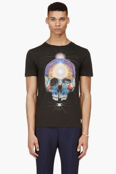 PAUL SMITH JEANS Black Skull Graphic T-Shirt