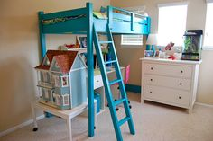 An example of the ana-white.com loft bed painted.  Room for dollhouse underneath.  Would put the dollhouse on a turn table for easier playtime.