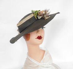 Vintage 1930s Schiaparelli hat, tilt navy blue with flowers by TheVintageHatShop on Etsy