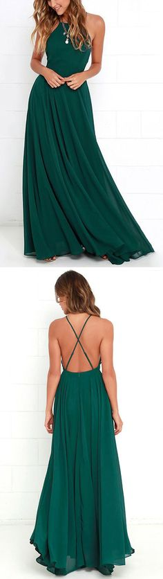 Green Prom Dresses Long, 2018 Party Dresses A-line, Backless Formal Dresses Chiffon with Ruffles