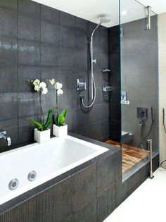 The layout of a small bathroom requires great ideas. Looking for small bathroom inspiration for you tiny house?Discover below examples to help you build a cozy small bathroom. The bathroom … Modern Bathroom Design, Bathroom Interior Design, Bathroom Designs, Shower Designs, Bath Design, Modern Design, Contemporary Design, Bathroom Images, Bathtub Designs