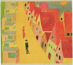 """Gunta Stolzl - """"Bauhaus and citizens' houses"""", 1934 From a Leporello painted for her daughter Yael 18.5x21.5 cm  Private collection"""