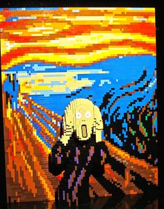 The Scream painting, an Expressionist work by Edvard Munch, is a popular subject for contemporary artists to explore in their art. Edvard Munch, Moma, Van Gogh, Le Cri, 8 Bits, Ap Art, Lego Brick, Lego Creations, Art Plastique