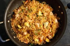 This fried rice recipe with kimchi and shrimp is quick and easy to make and tastes delicious.