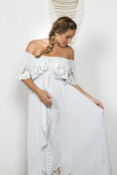 """""""Wonder Years"""" Women's embroidered maxi dress - 'Baby Baby' blue Fillyboo - Boho inspired maternity clothes online, maternity dresses, maternity tops and maternity jeans."""