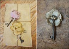 skeleton key boutonniere boutineer... fabric flower boutonniere boutineer vintage boutineer boutonniere