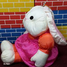 "International Silver Puffalump Style Nylon Girl Bunny Rabbit in Dress Plush 16"" #InternationalSilverCo"