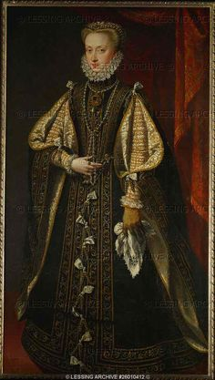 RENAISSANCE PAINTING 16TH   Sanchez Coello,Alonso  Archduchess Anna of Austria, Queen of Spain (1549-1580) At age 21 she became the fourth wife of her uncle, King Philip II, who was 22 years her senior. Canvas, 170 x 98 cm, 1571 Inv. 1733   Kunsthistorisches Museum, Gemaeldegalerie, Vienna, Austria