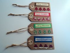 Christmas tags in beige with Marry Christmas and small trees on Etsy, $3.09
