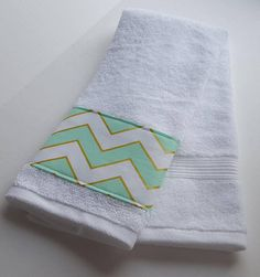 Mint Chevron Towels, Mint And Gold Decor, Mint And White Decor, Bathroom  Towel Decor, Chevron Decor, Powder Room Decor, Housewarming Gift