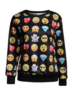 Emoji Print Clothing Shirts T-Shirts & Hoodies Men/Women
