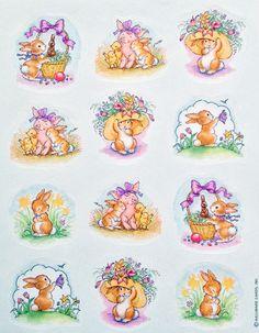 VTG Hallmark Easter Stickers - BUNNIES - FLOWERS - PIGS