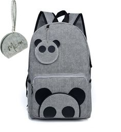Micom Lightweight Portable Canvas Panda Design Cute Backpack/ School Bag/ Travel Daypack for Girls,women with Micom Zip Pouch (Deep Grey)