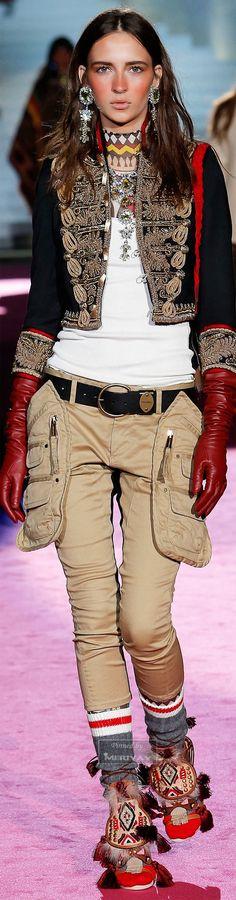 www.cewax aime la mode ethnique, tribale, afro tendance, hippie, boho chic... Retrouvez tous les articles sur la mode afro sur le blog de CéWax: http://cewax.wordpress.com/ et des sacs et bijoux ethniques en boutique: http://cewax.alittlemarket.com - Dsquared².Fall 2015.
