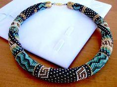 blue bead crochet bracelet