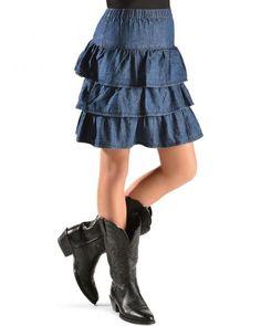 Red Ranch Girls' Tiered Denim Skirt