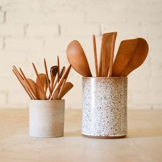 Handcrafted utensilsfrom sustainably grown cherry wood, whichis a hardwood with handsome color and grain, durable, smooth, and strong. The utensils have evolv
