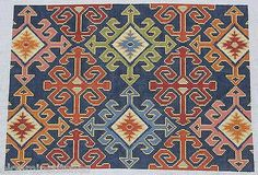CanvasWorks Anatolian Kilim Kidney Pillow HP Needlepoint Canvas in Crafts, Needlecrafts & Yarn, Needlepoint & Plastic Canvas Cross Stitch Geometric, Cross Stitch Borders, Cross Stitching, Cross Stitch Patterns, Needlepoint Stitches, Needlepoint Canvases, Embroidery Stitches, Tapete Floral, Bargello Patterns
