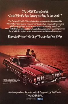 1976 Ford Thunderbird Vintage Ad - Couple Parked By Lake