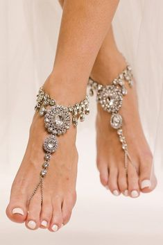 30 Beach Wedding Shoes That Inspire ❤ beach wedding shoes rhinestones sparkle for summer baresandalsllc Boho Wedding Shoes, Barefoot Sandals Wedding, Bridal Sandals, Bridal Shoes, Bridal Jewelry, Wedding Bride, Wedding Ideas, Beach Jewelry, Wedding Dresses