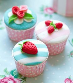 Buy Cupcakes by RuthBlack on PhotoDune. Cupcakes decorated with fondant strawberries and roses Pretty Cupcakes, Beautiful Cupcakes, Yummy Cupcakes, Strawberry Cupcakes, Vanilla Cupcakes, Strawberry Shortcake, Mademoiselle Cupcake, Mini Cakes, Cupcake Cakes