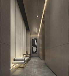 Picasso Blue Period, Elevator Design, Corridor Lighting, Hotel Corridor, Elevator Lobby, Cubist Movement, Lobby Design, Wall Molding, Interior Decorating