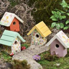 mini wooden birdhouse crafts | Painted Wood Birdhouse Stake - Fairy Garden Miniatures - Dollhouse ...