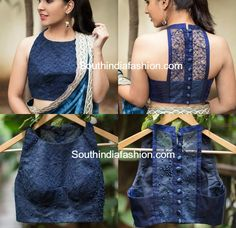 Latest Net Blouse Designs For Sarees photo - cream shirt blouse, collared black . Netted Blouse Designs, Blouse Back Neck Designs, Fancy Blouse Designs, Saree Jacket Designs Latest, Sari Design, Designer Kurtis, Blouse Lehenga, Sleeveless Saree Blouse, Blouse Dress
