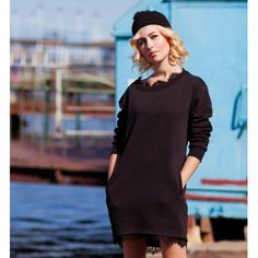 #Black long #sweatshirt #tunic with #handmade #lacy #applique by #ojfashion. #lace #dress Агат - СВИТШОТ длинный