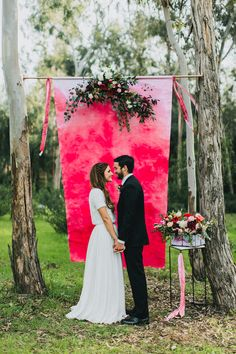 dyed fabric backdrop for a modern ceremony backdrop
