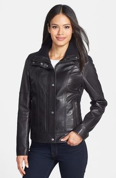 Cole Haan Modern Lamb Knit Collar Bomber | recipes | Pinterest ... : cole haan leather jacket diamond quilted - Adamdwight.com