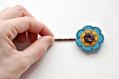 Embroidered Wool Hair Pin от SewSweetStitches на Etsy