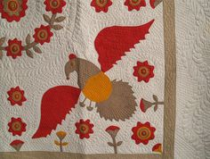 Eagles with Floral Wreath Applique Quilt detail.  c.1875.  95 x 95 inches.