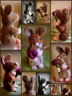 Needle felted mouse saying 'I love you' by Fittobeloved on Etsy