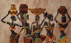 African ethnic women paintings with vessels de decoracion de dormitorio para mujeres African Wall Art, African Artwork, African Art Paintings, Abstract Paintings, Africa Drawing, Afrique Art, African Tribes, African Women, African American Art