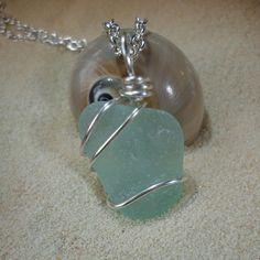 Wire wrapped seafoam green sea glass by atreasurefromthesea, $19.99