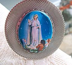 "$58 Very large pendant featuring Our Lady of Fatima Porcelain Cameo. The cameo center is 1.75"" x 1.25"". Overall 3"" long including bail."