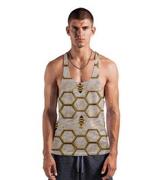 'LIGHT BEE ABSTRACT.' Vests by SANA90 on miPic Printed Tank Tops, Order Prints, Your Image, Vests, Tank Man, Bee, Abstract, Fabric, Mens Tops