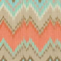 Ikat Chevron in Mint and Coral fabric by sparrowsong on Spoonflower - custom fabric LOVE THIS COLOR COMBO!