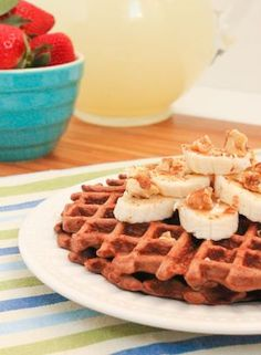 Chocolate Banana Protein Waffles