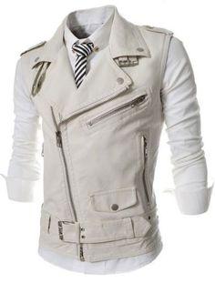 Men's Fashion Sleeveless Leather Zipper Accent Vest M-2XL 3 Colors