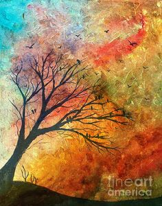 Crow Tree Colored Sky 2 by Barbara Griffin