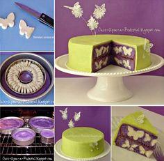 Butterfly Surprise Cake - Million Ideas Club Sweet Recipes, Cake Recipes, Surprise Inside Cake, Chocolate Butterflies, Butterfly Cakes, Cookie Decorating, Decorating Cakes, Cake Decorations, Occasion Cakes